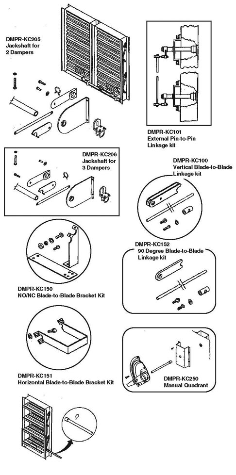damper installation hardware and accessories for hvac