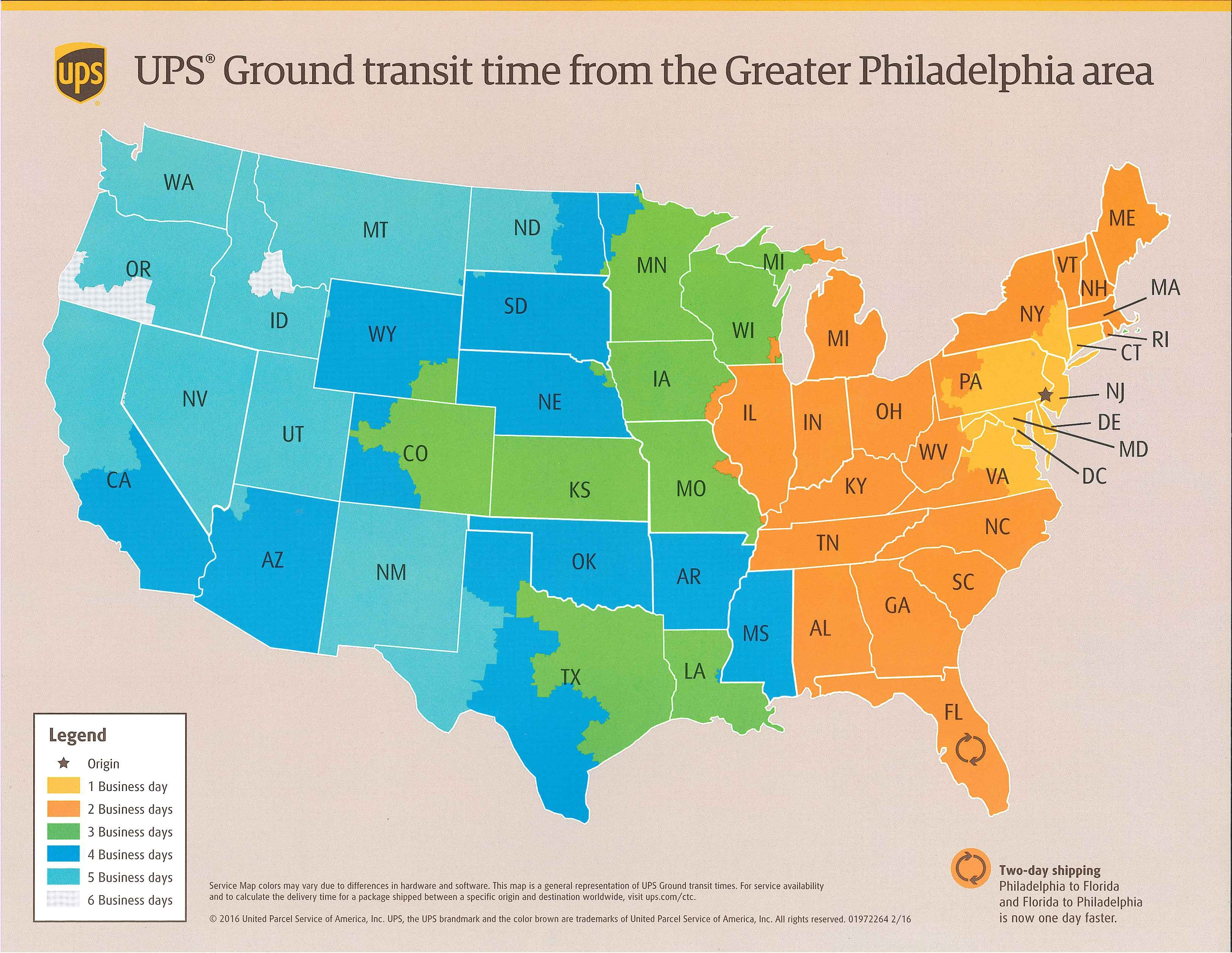 UPS Ground Service Time in Transit Map from Havertown, PA